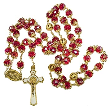 36a5bbea0 Image Unavailable. Image not available for. Color: Blue White Style St  Benedict Gold Plated Red Crystals Rosary Beads ...
