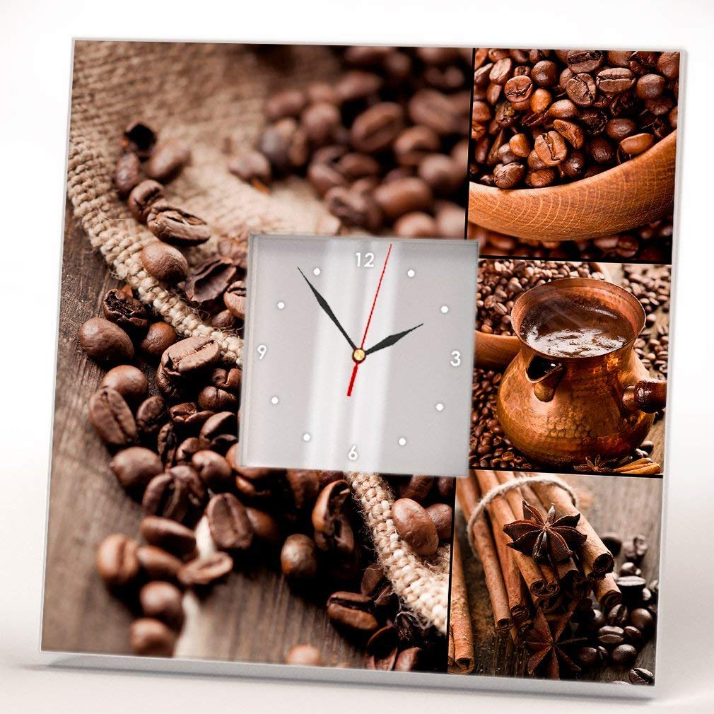 Coffee Beans Fan Lovers Wall Clock Framed Mirror Printed Art Kitchen Design Home Bar Decor Gift Idea