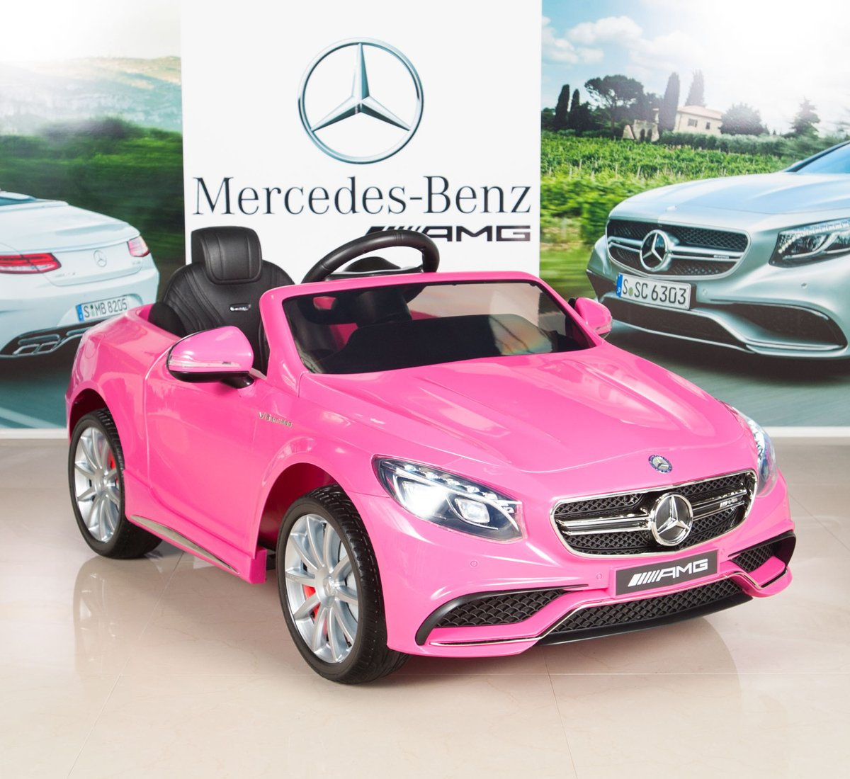 Mercedes-Benz S63 Kids 12V Electric Power Wheels RC Ride On Car with Radio & MP3, Pink by BIG TOYS DIRECT