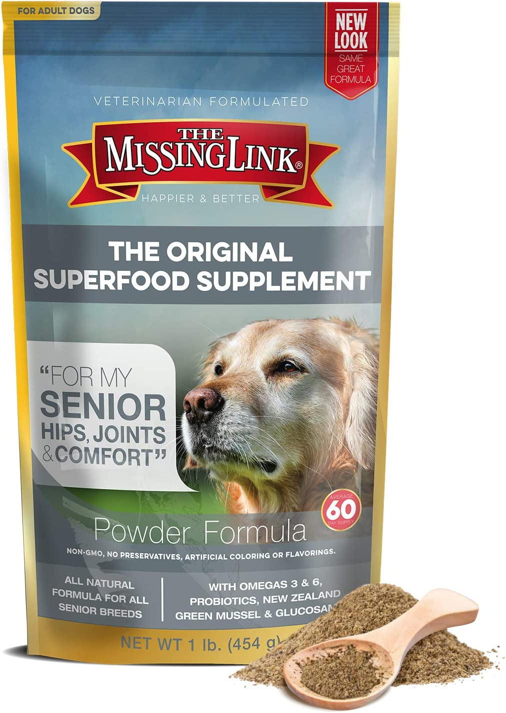 The Missing Link Original Hips & Joints Powdered Supplement, Senior Dogs, 1 lb Resealable Bag