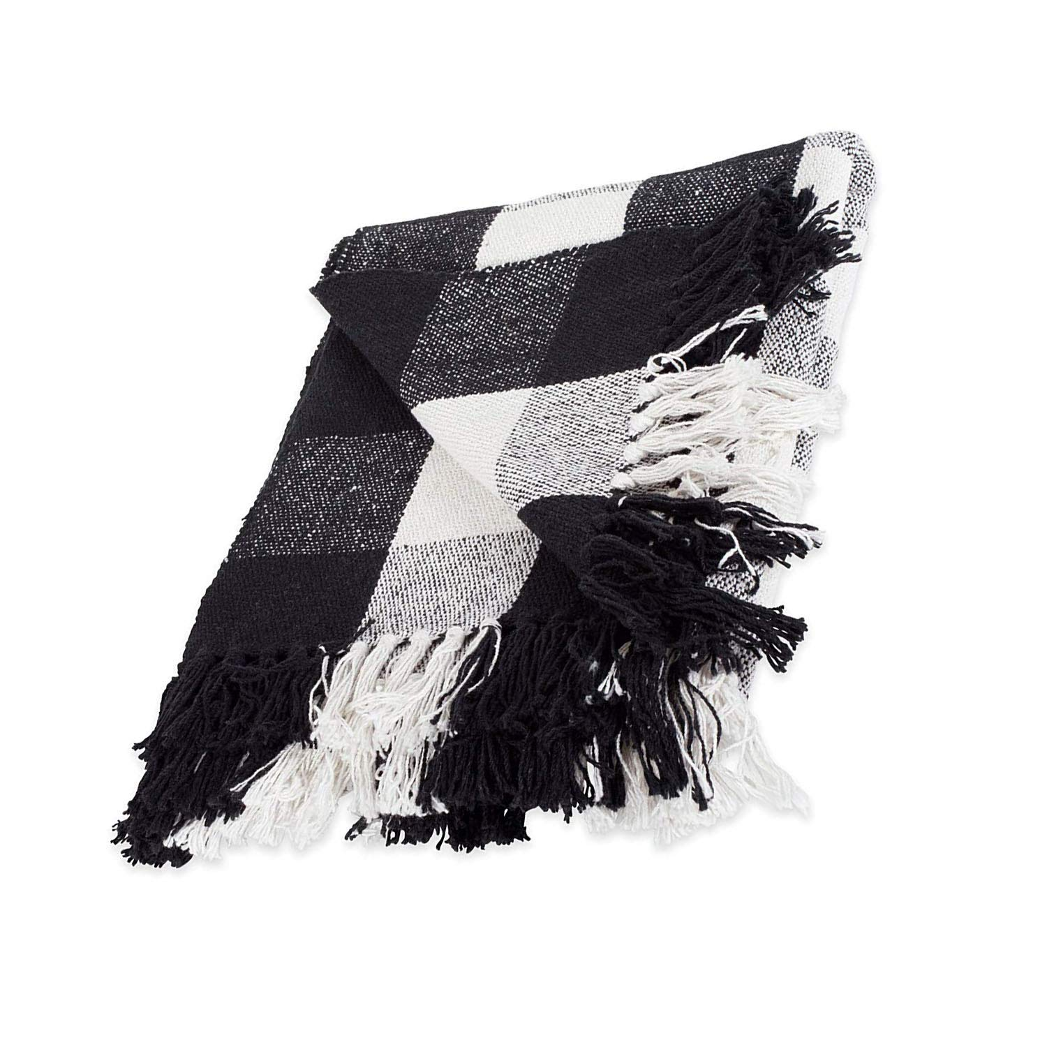 Xelparuc 100% Cotton Buffalo Check Throw for Indoor/Outdoor Use Camping BBQ Beaches Everyday Blanket (50 x 60, Black and White)