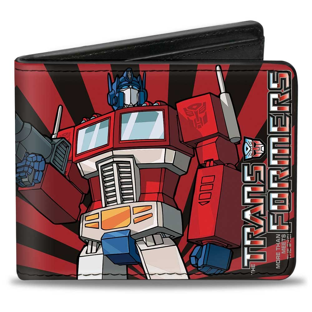 Buckle-Down PU Bifold Wallet - Optimus Prime Pose + Semi/Rays Black/Red PUW-TFG