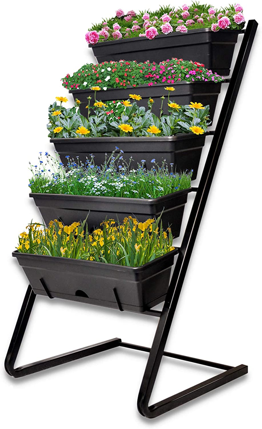 WeGuard Vertical Garden Planter, Raised Garden Bed Freestanding Elevated Planter with 5 Container Boxes, Good for Patio Balcony Indoor and Outdoor - Cascading Water Drainage