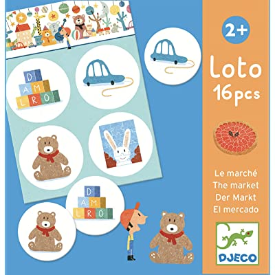 DJECO Loto The Market Loto The Market 16Piece Educational Game, Multicolor: Toys & Games