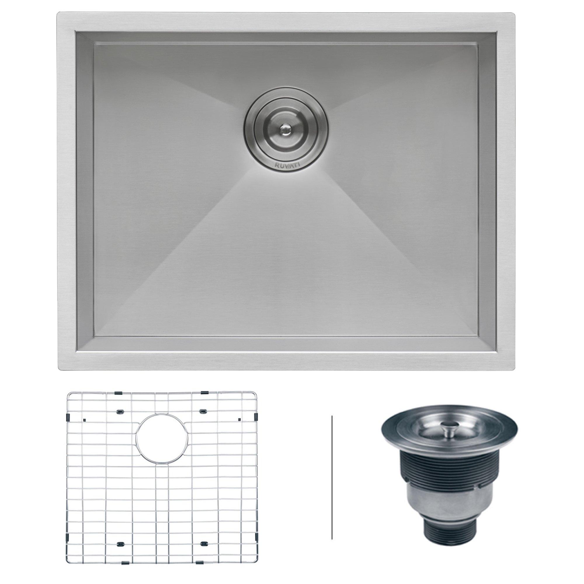 Ruvati 23-inch Undermount 16 Gauge Zero Radius Kitchen Sink Stainless Steel Single Bowl - RVH7100