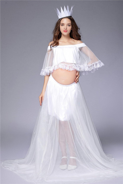 Happy cherry Vestido de Mujeres Embarazadas Conjunto de Ropa de Disfraz Fotos de Pre-mamá para Fotografía Gasa Encaje Top + Vestido + Tocado: Amazon.es: ...