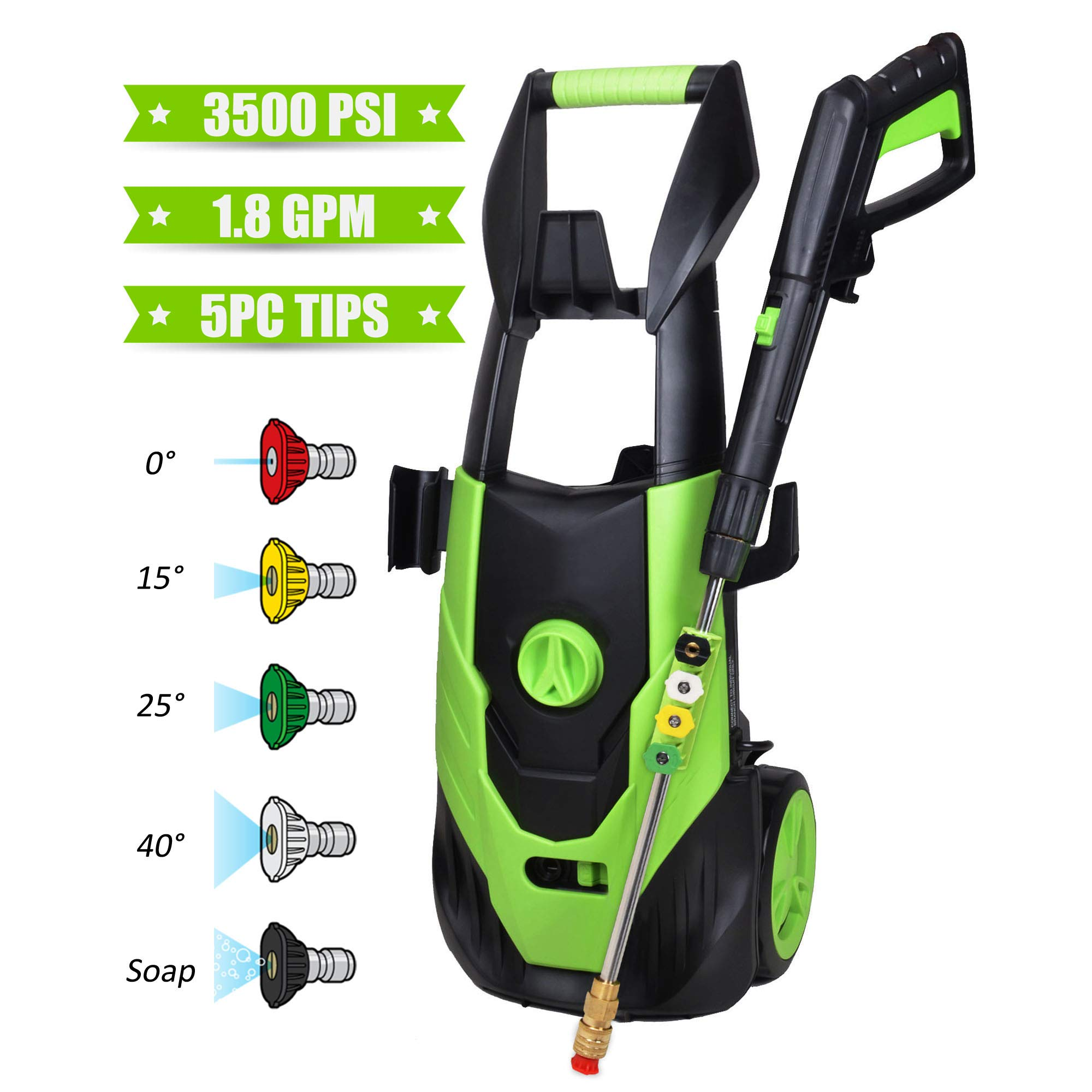 Azoran Electric Pressure Washer, Electric Power Washer with 5 Quick-Connect Spray Tips, Car Washer Machine - 3500 PSI 1.8 GPM