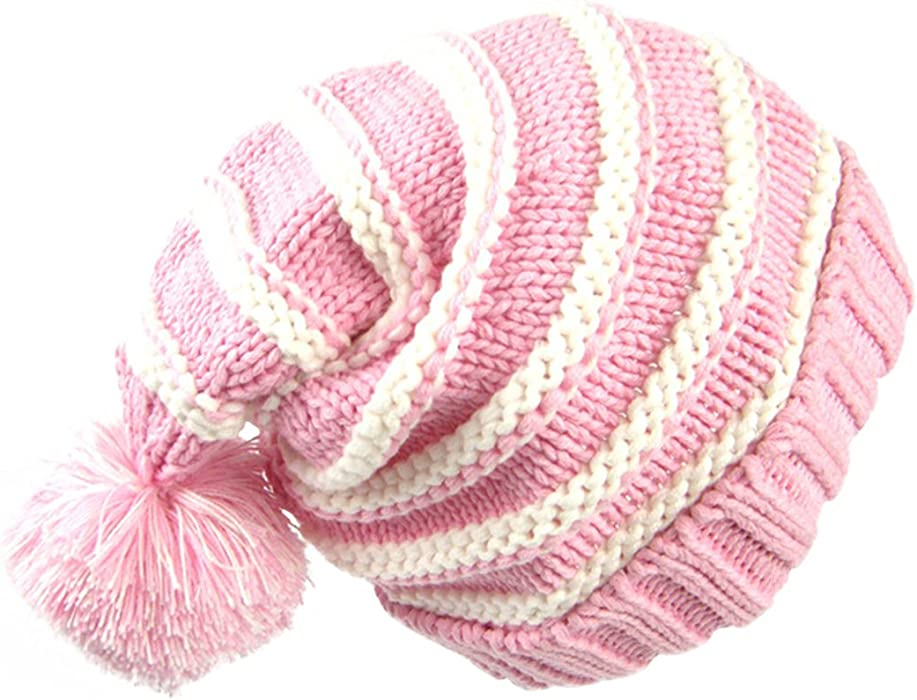 Sumolux Christmas Hat Warm Knitted Pom Stripe Cuff Beanie Stocking Cap For  Kids Adult Autumn Winter d33c80303a9
