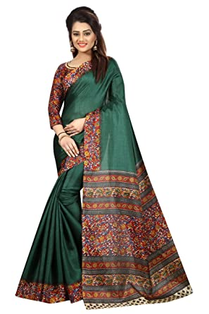 be2586a832 KGM Sarees For Women's Cotton Silk Patti And Green Printed Saree With Blouse  Piece: Amazon.in: Clothing & Accessories
