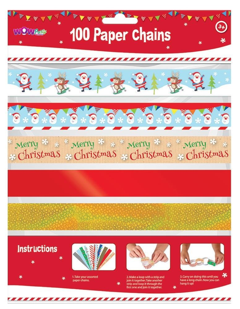 Christmas Chain Text.100 X Cute Design Christmas Make Your Own Paper Chains Decorations Xmas