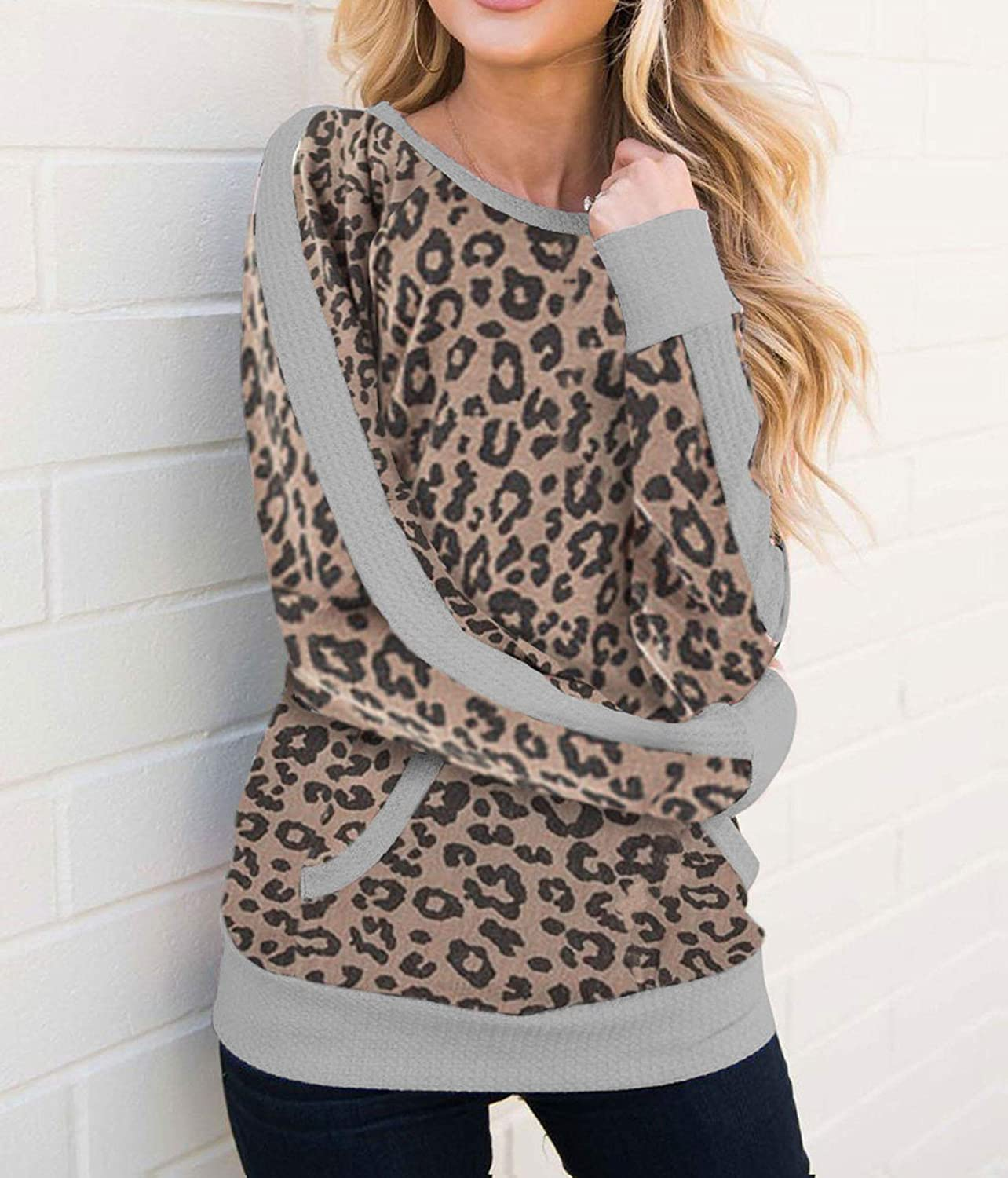 Hoodie Women Sweatshirts Leopard Autumn Casual Camouflage Print O Neck Long Sleeve Front Pocket SEE YOU