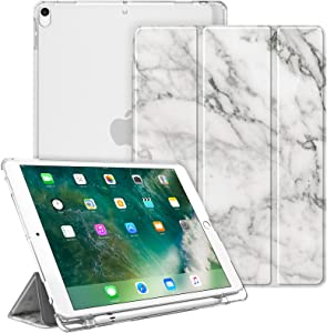 "Fintie Case for iPad Air 10.5"" (3rd Gen) 2019 / iPad Pro 10.5"" 2017- Lightweight Slim Shell Standing Cover with Translucent Frosted Back Cover with Pencil Holder, Auto Wake/Sleep, Marble White"