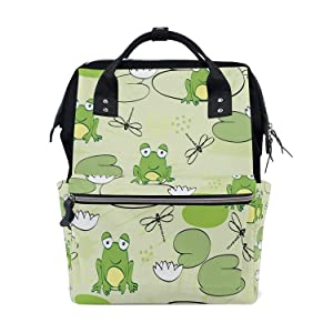 Backpack Diaper Bag Water Lily Frog Pond Dragonfly Womens Travel Bag Mens Laptop Bags