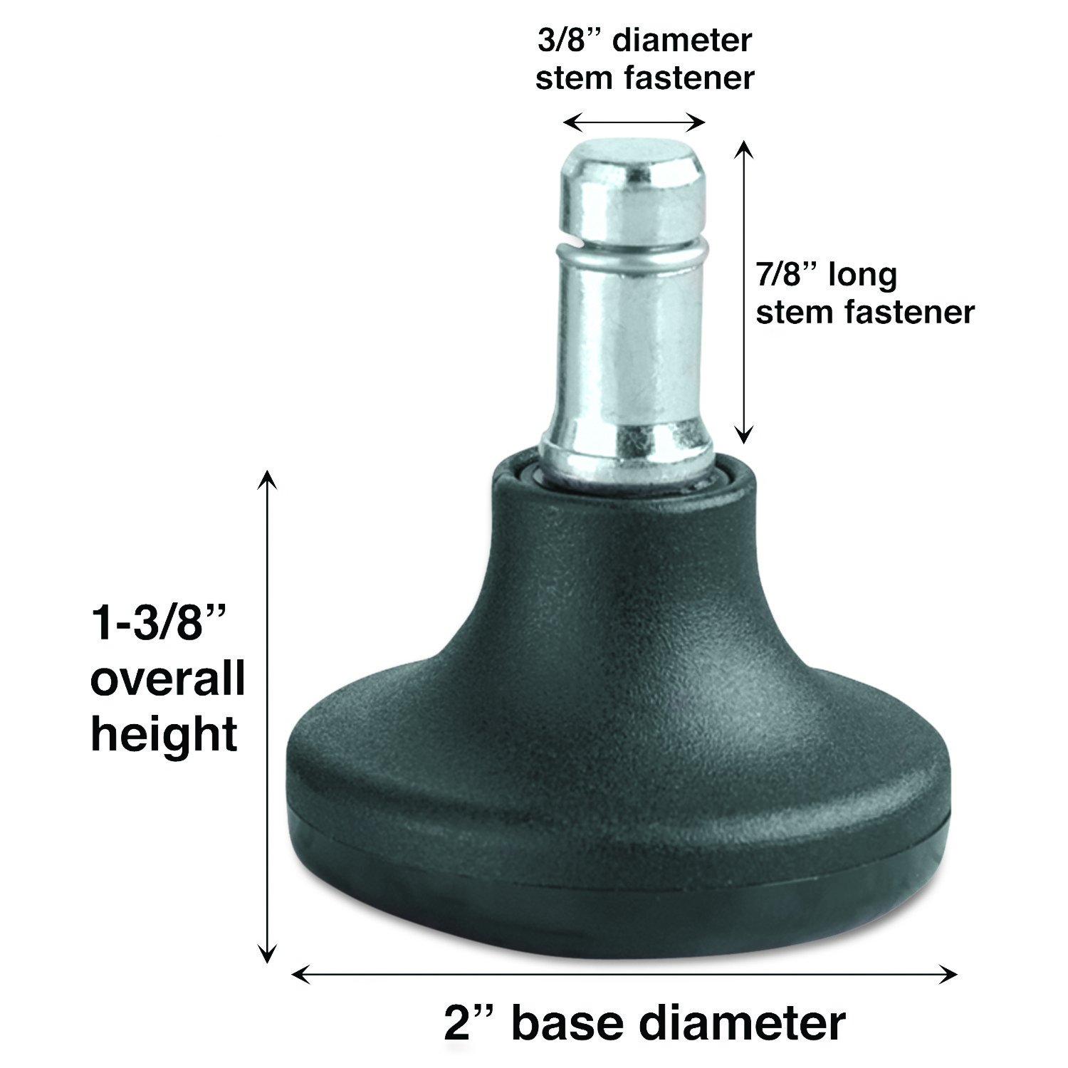 "Amazon Low Profile Bell Glides 3 8"" Dia x 7 8"" Long Stem 110"