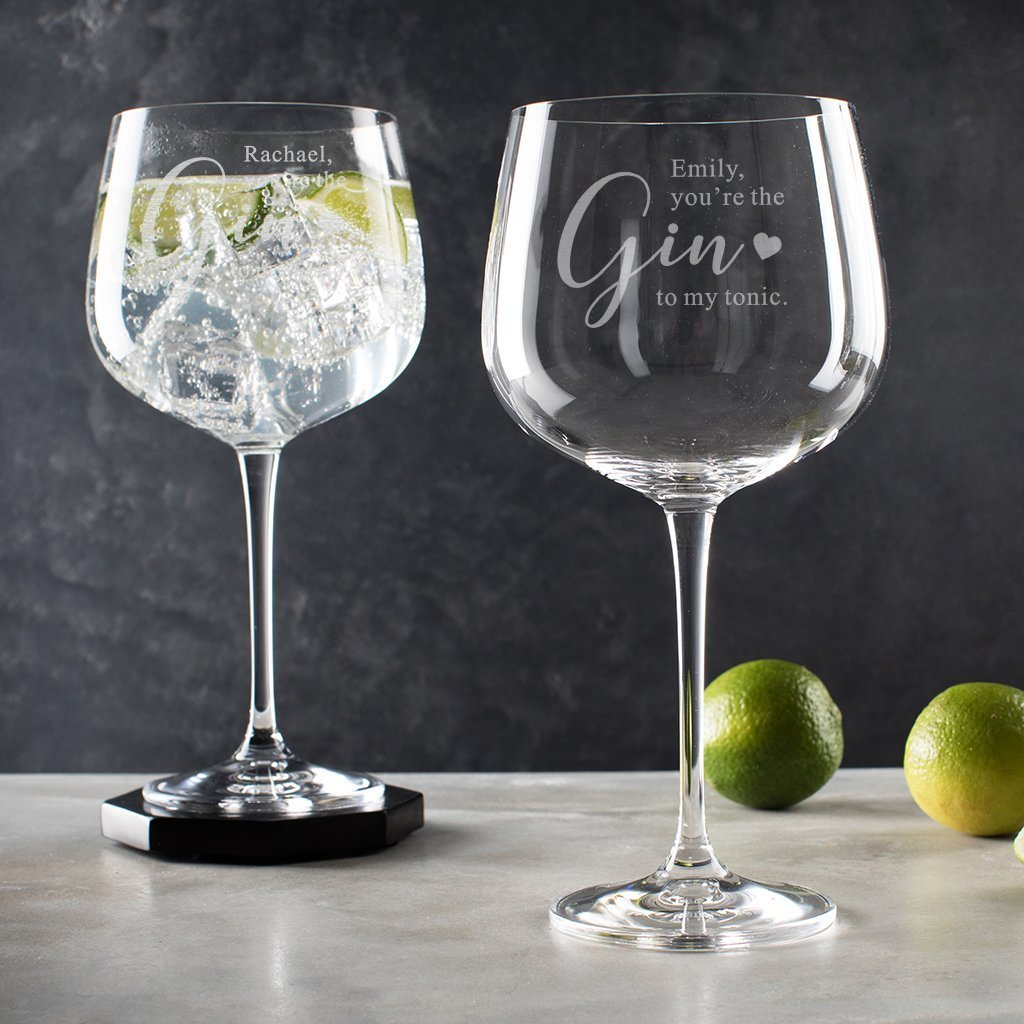 Personalized Youre the Gin to My tonic Glass Birthday Anniversary Gifts for Her Engraved Gin Goblet for Gin Lovers