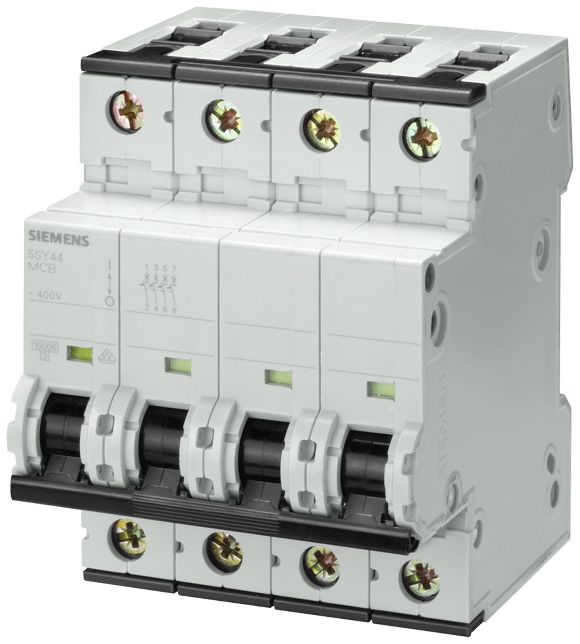 Siemens 5SY44047 Supplementary Protector, UL 1077 Rated, 4 Pole Breaker, 4 Ampere Maximum, Tripping Characteristic C, DIN Rail mounted