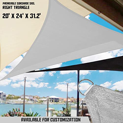 TANG Sunshades Depot 20' x 24' x 31' Light Grey Sun Shade Sail Right Triangle Permeable Canopy Custom Commercial Standard 240 GSM