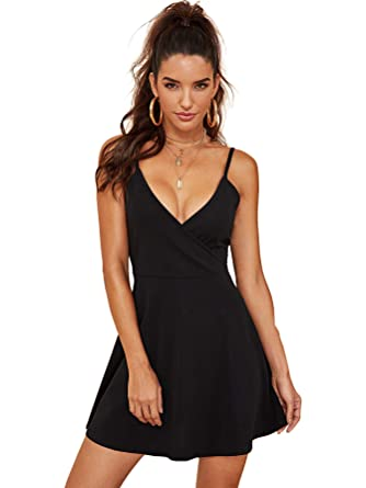 63a6b9c9fd SheIn Women's V Neck Spaghetti Straps Sleeveless Sexy Backless Wrap Flare  Dress X-Small Black