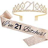 """I'm 21 Bitches!"" Sash & Rhinestone Tiara Set - 21st Birthday Gifts Birthday Sash for Women Fun Party Favors Birthday…"