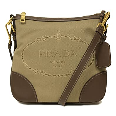 c8c6dd6ec46d ... coupon code for prada brown leather and canvas corda bruciato crossbody  messenger bag bt867a a6620 8a380
