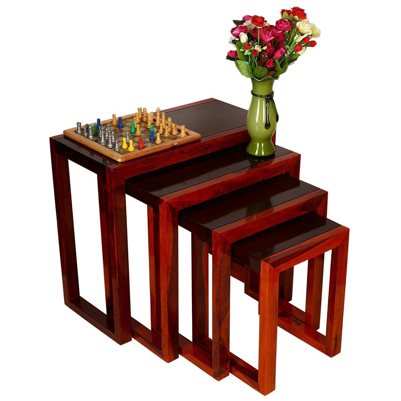 Shilpi Nesting Wooden Table Indian Teak Wood Set Of 4 Special