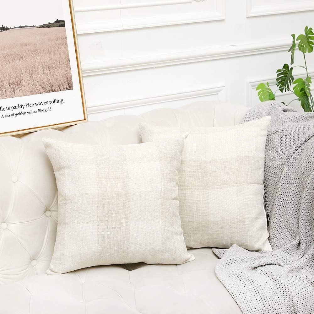 Vinvi Set of 2 Retro Cotton Linen Farmhouse Outdoor Decorative Buffalo Check Plaid Throw Pillow Covers 18x18 Inches for Fall Home Decor Beige