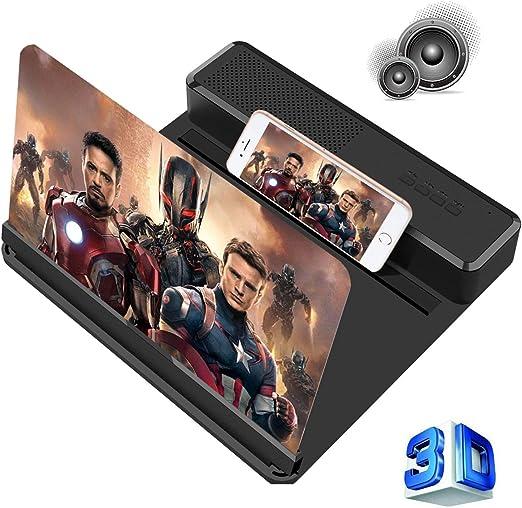 Loupe d'écran de téléphone avec haut-parleur Bluetooth et ndash; Projecteur d'amplificateur d'écran HD 3D pour téléphone portable pour films, jeux et ndash; Support de téléphone à haut-parleur pliable et ndash; Compatible avec tous les smartphones