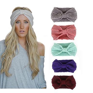 Upsmile Knit Headband Crochet Head Wrap Pony Tail Head Band Messy