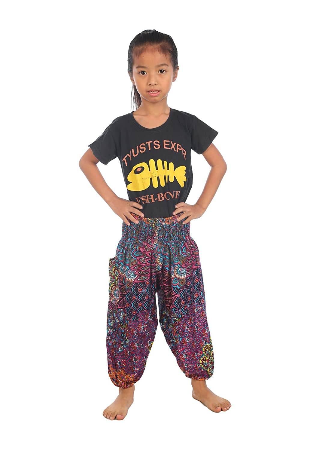 Lofbaz Kids Hippy Thai Harem Aladdin Pirate Child Pants Bohemian Pants