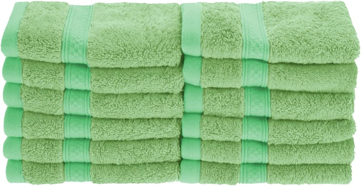 Superior Rayon from Bamboo and Cotton Face Towels, Velvety Soft and Super Absorbent, Hotel & Spa Quality Washcloth Set of 12 - Spring Green, 13
