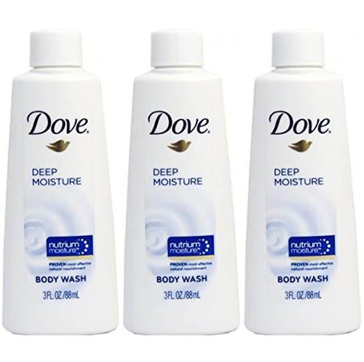 Dove Nutrium Deep Moisture Body Wash Travel Size 3 Ounce (Pack Of 3)