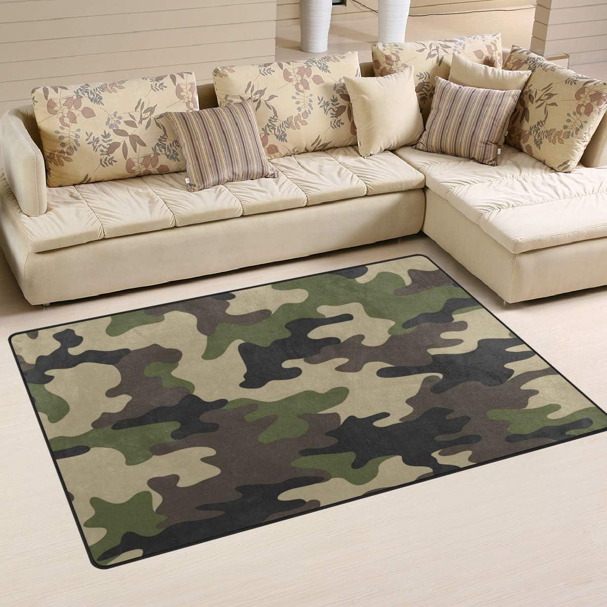 Linomo Area Rug Camouflage Green Camo Floor Rugs Doormat Living Room Home Decor, Carpets Area Mats for Kids Boys Girls Bedroom 60 x 39 Inches