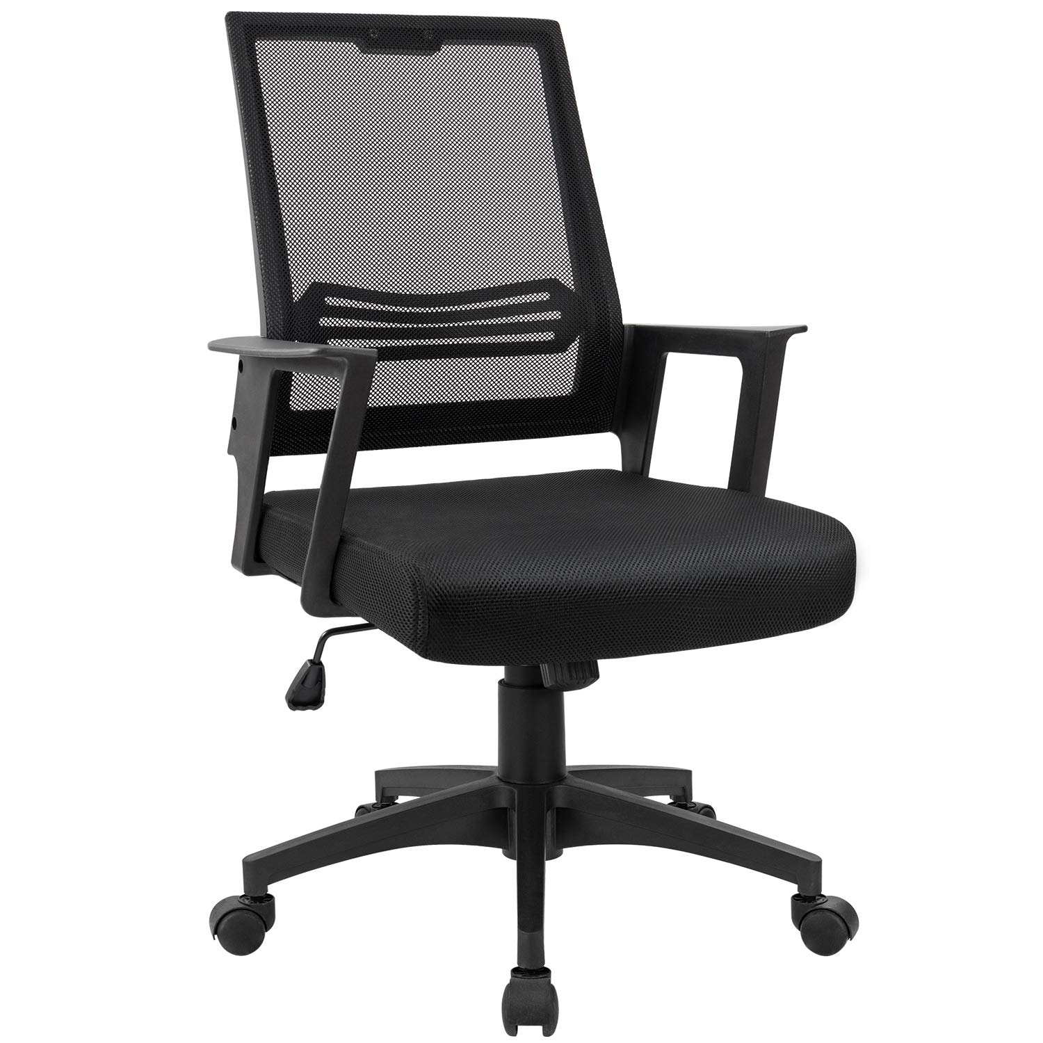 Devoko Office Chair Ergonomic Mid Back Swivel Mesh Desk Chair Height Adjustable Lumbar Support Computer Chair with Armrest (Black) by Devoko