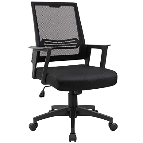 Devoko Mid Back Mesh Desk Chair Height Adjustable With Armrest Swivel Office  Chair Lumbar Support Computer