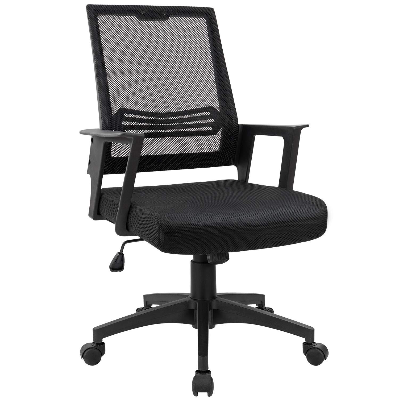 Devoko Office Chair Ergonomic Mid Back Swivel Mesh Desk Chair Height Adjustable Lumbar Support Computer Chair