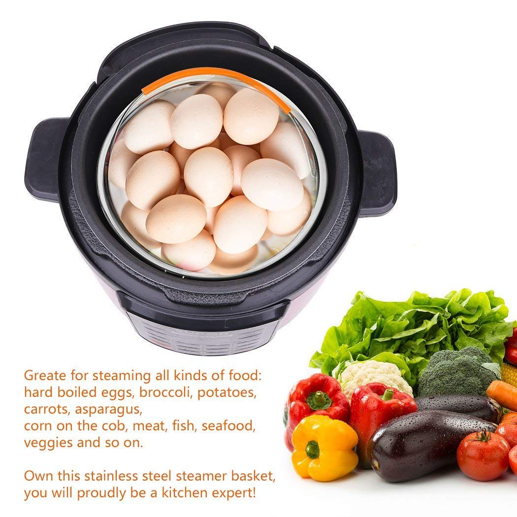 -Vegetable Steamer Insert Handle-Instant Pot Magnets,Silicone Insulated Gloves Steamer Basket 6PACK MOONBROOK Basket Accessories 6 or 8 qt 304 Stainless Steel