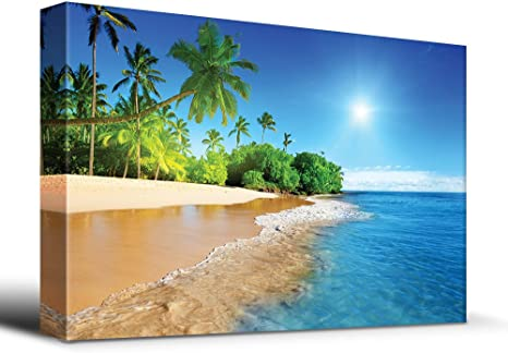 Wall26 Palm Trees On Tropical Beach Vacation Canvas Art Home Art 24x36 Inches Posters Prints