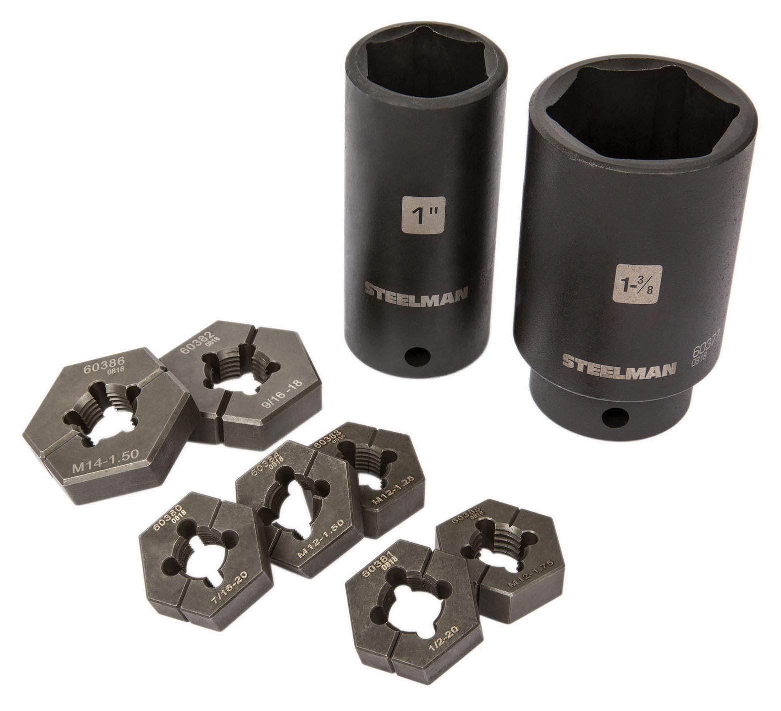 Steelman 60375 9-Piece Split Die Wheel Stud Repair/Rethreading Kit