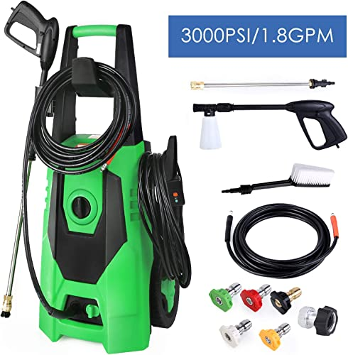 SNAN Pressure Washer, 3000 PSI, 1.8 GPM Electric High Power Pressure Cleaner Machine, with 5 Nozzle Adapter, 19.7FT Hose, Soap Pot and Brush, Suit for Vehicle, Home, Garden