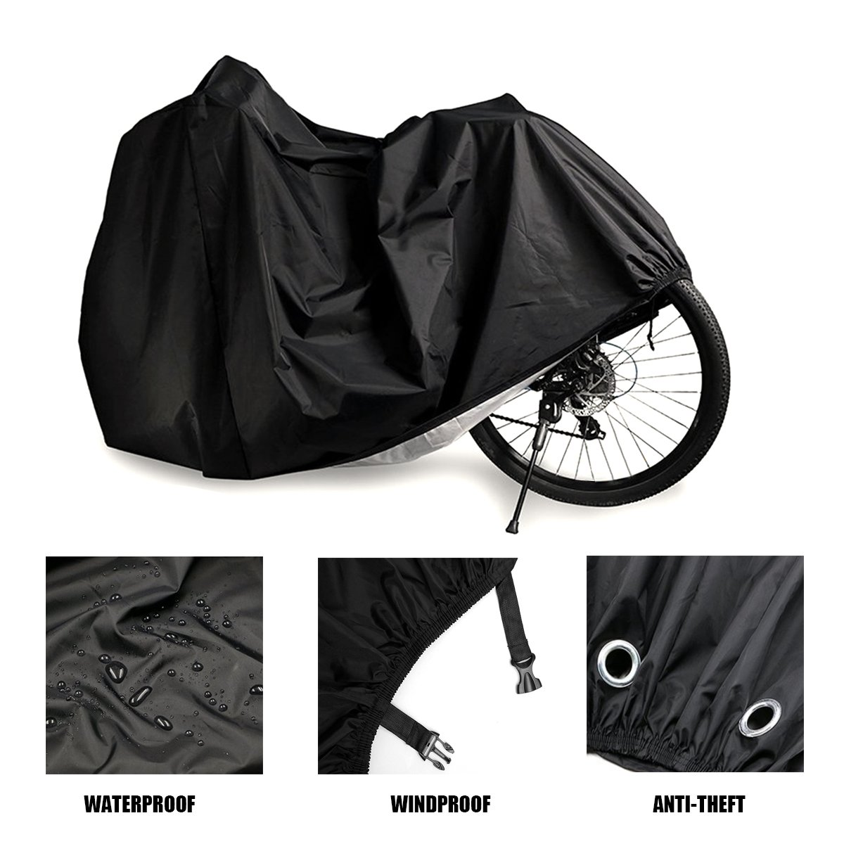 AIMUHO Bike Cover 210D Oxford Fabric Waterproof Bicycle Cover with Lock Holes, Outdoor Bicycle Rain Cover UV Protection for All Weather Conditions/XL Size by AIMUHO (Image #2)