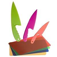GarMills Set de Cuchillos para Niños, 3 Unidades en 3 Colores, para Niños, Cuchillos de Cocina Seguros de Nailon, con Tabla de Picar de Plástico, Set de 4, para Pan, Lechuga o Ensalada.