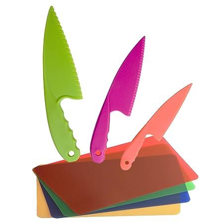 GarMills Set de Cuchillos para Niños, 3 Unidades en 3 Colores, para Niños, Cuchillos de Cocina Seguros de Nailon, con Tabla de Picar de Plástico, Set de 4, ...