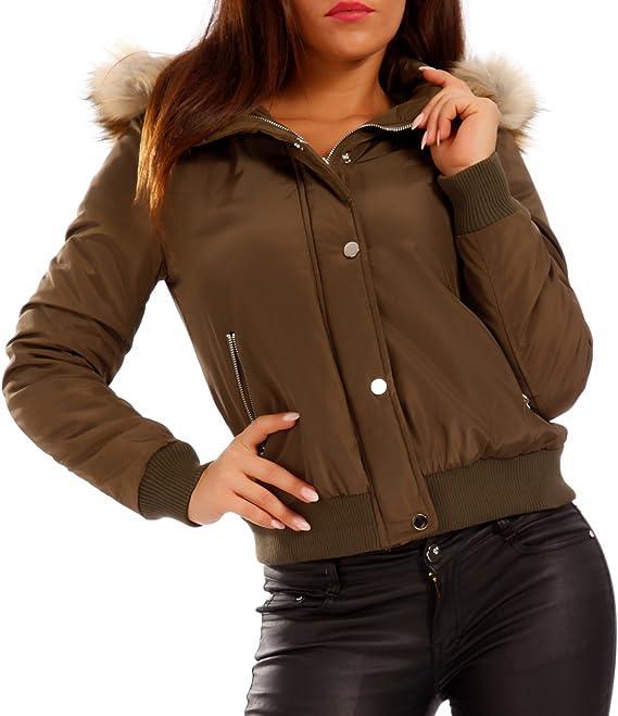Young-Fashion Damen Bomber Jacke Blouson Jacket Flieger Jacke