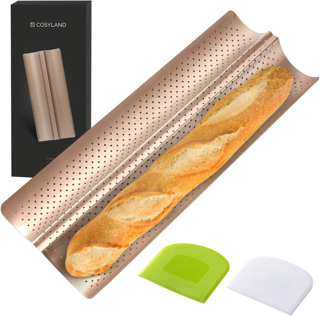 Perforated baguette pan for French bread baking.