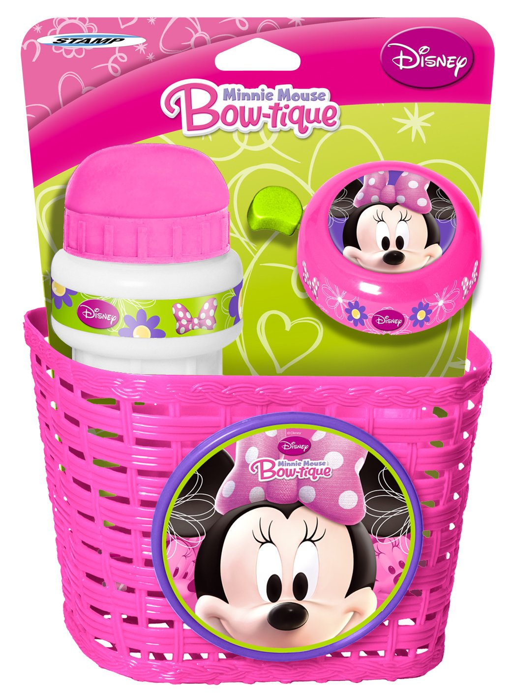 Minnie Mouse Combo con Cesta, Bidon y Timbre, Color Pink, 3+ (K863508) STAK863508