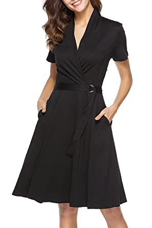 Lyrur Womens Vintage Short Sleeve Modest Black Belted Pockets Knee Length Wedding Guest Dress with Belt