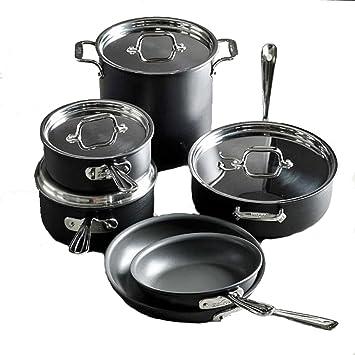 All-clad e786scdi NS1 antiadherente apta para lavavajillas ni ácido perfluoroctanico utensilios de cocina Set, 10 unidades. Negro: Amazon.es: Hogar