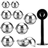 Metal Bath Bomb Molds,18x Aluminum Bath Bomb Mold Set (4x 1.9inch, 4x 2.2inch, 10x 2.6inch), 1x Powder Tamper, Bath Bomb Craf