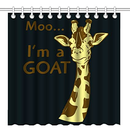 Wknoon 72 X Inch Shower Curtain Funny Giraffe Quote Im A Goat