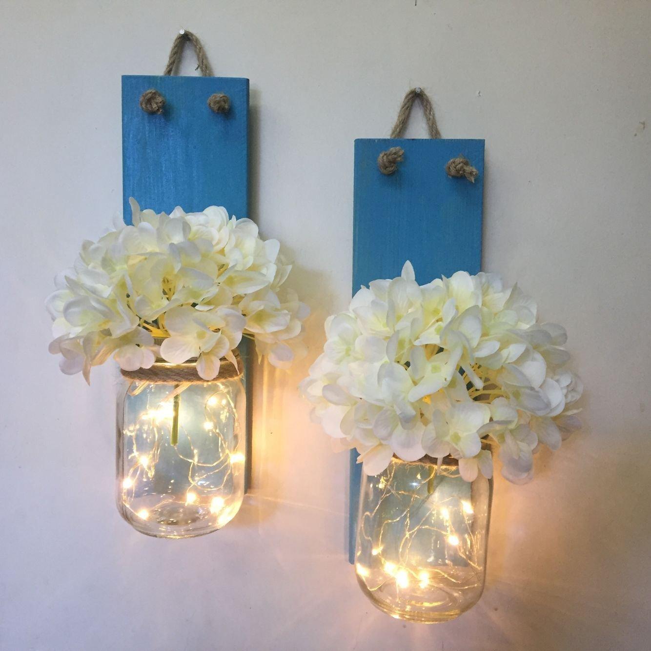 Mason Jar Hanging Wall Sconces Rustic Home & Living Decor, Rustic Wedding Decor, Lighted Mason Jar, Country Decor Hanging Wall Vase Shabby Chic